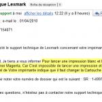 Réponse du support Lexmark