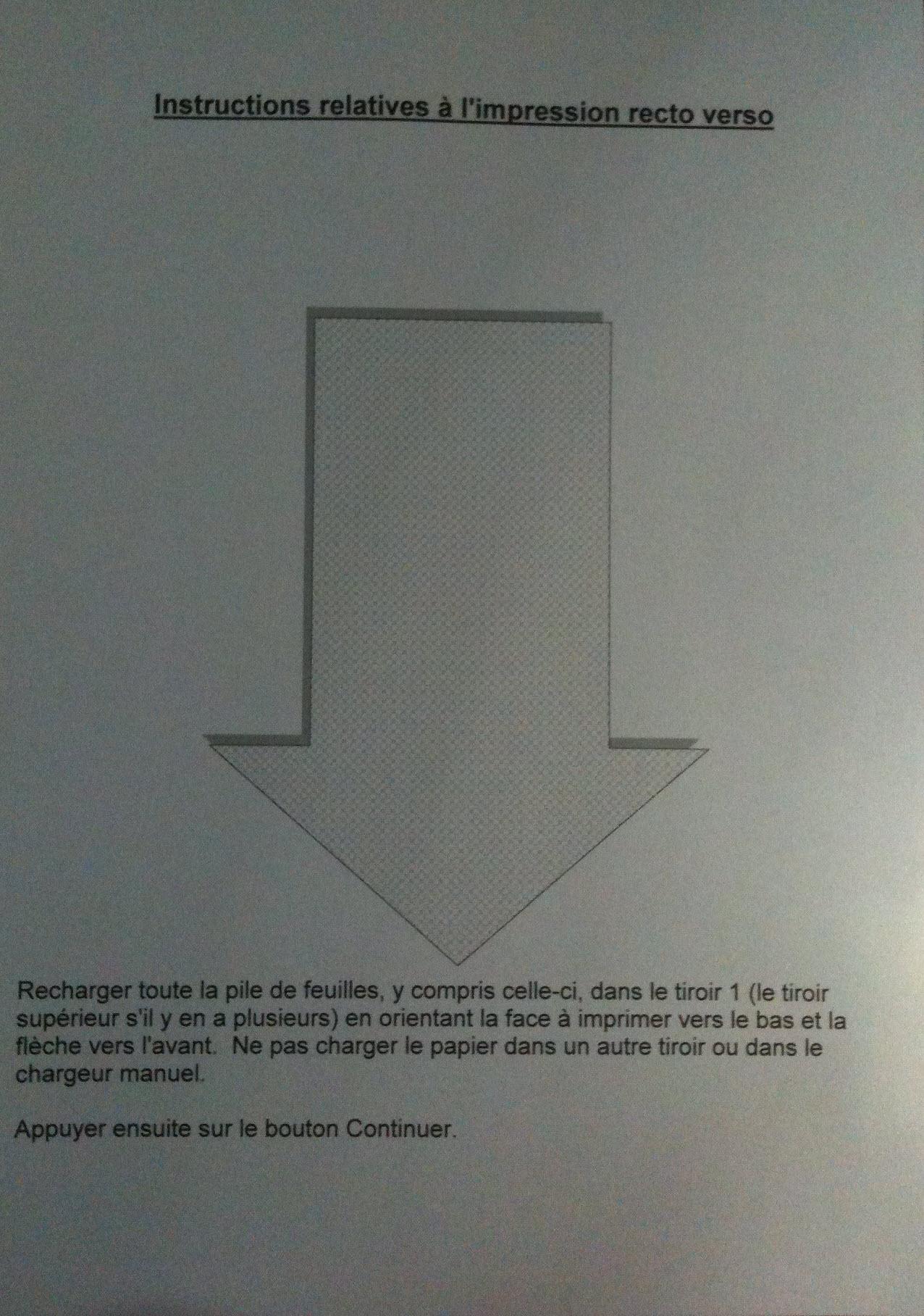 Page d'instruction sur le recto verso