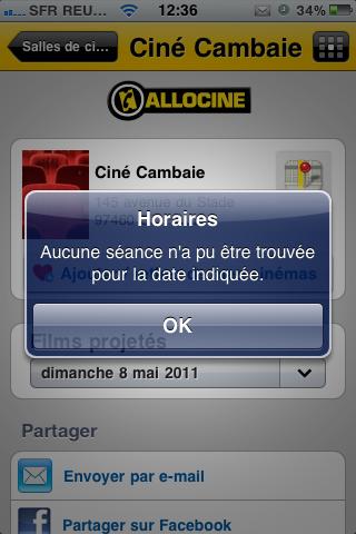 Consultation des horaires de Ciné Cambaie sur Allociné